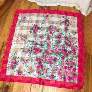Vintage Valentina Pink & white rose sheer scarf